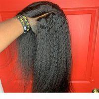 High Qualty Yaki Kinky Wig Straight WIG 13X4 Brasileño Lucha Full Frontal Peluca Peluca Peluca Sintética Preplucida Peluze Coruda Natural Para Mujeres
