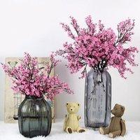 Flores decorativas grinaldas brancas flores de cerejeira artificial gypsophila plantas falsas DIY vasos de buquê de casamento para decoração de casa Faux Christmas