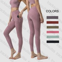 Yogaworld Women LU yoga pants leggings lulu High Waist Sports Gym Wear Elastic Fitness Lady Outdoor Sport Pant for woman Solid Color with Pocket