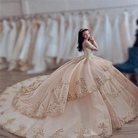 2021 Sexy Luxury Champagne Quinceanera Ball Gown Dresses Long Sleeves Jewel Neck Lace Appliques Crystal Beads Sweep Train Tiered Plus Size Party Prom Evening Gowns