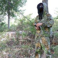 Trajes de caza del camuflaje biónico de los hombres anti-mosquito observación de pájaros traje de pesca verde hojas de caza ropa chaqueta juego de pantalones