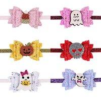 Halloween Girls Hair Accessories Baby Headbands Children Kids Bow Sequin Pumpkin Hairbands Head Bands B8213