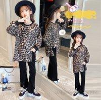 Chicas Leopardo Ropa de grano conjuntos para niños Cuello redondo de manga larga Jersey + Pantalones de destello dividido 2pcs Niños de otoño Outfits casuales Q1559