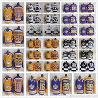 Vintage CCM Los Ángeles Reyes Hockey 99 Wayne Gretzky Jersey 32 Jonathan Quick 23 Dustin Brown 19 Butch Goring Negro Blanco Amarillo Púrpura