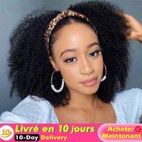 Perruque en bande de tête bouclée Afro Kinky Courly Couleur 1b Wavy Bandeau Perruque pour femmes Synthetic Burly Perruque pour Noir Méencomanie Direct