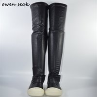 Owen Seak Women Shoes Over Knee High Boots Luxury Trainers Lace Up Winter Casual Brand Zip Snow Flats Black Big Size 210913