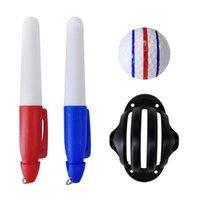 Golf Eğitim Yardımları Topu Liner Üçlü Hattı Ile 2 Marker Kalem Renkli Mavi Kırmızı Koyma Konum Bırak Gemi