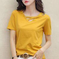 Women's T-Shirt Summer T Shirt Women V-neck Short Sleeves Loose Slim Fit Tshirt Top Womens Solid Color Korean Tee 2021 Plus Size Woman Cloth