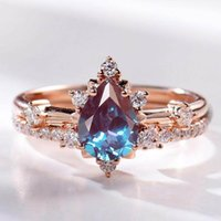 Cluster Rings Selling Solid 925 Sterling Silver CZ Dainty Jewelry Alexandrite Ring Set Wedding Engagement For Gift