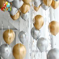 100 stücke 12inch Gold Silber Chrome Metallic Latex Ballons Hochzeit Markt Hotel Geburtstag Weihnachten Party Dekoration Helium Ballon