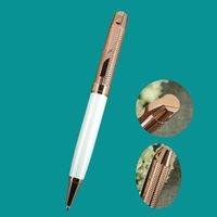 Ballpoint Pens ACMECN High Rose Gold And White Pen Unisex Hi-tech Checker Pattern Luxury 40g Metal Heavy Ball Writing Stationery