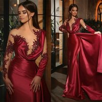2021 vestidos de noite formal vermelhos encantadores beading sereia vestidos de festa sexy sheer mangas compridas ruched cetim longos vestidos de baile de baile