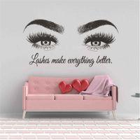 Texto personalizado Beauty Salon Decal Eyebrows Maky Up Pegatina Pestañas Extensión de la pared de vinilo Pósteres Posters Barra de pestañas Decoración