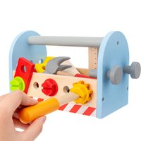 Kids Toolbox Toy Wooden Pretend Game Puzzle Montessori Disassembly Set Simulation Multifunctional Repair Carpenter Tool Boy Gift 210312