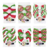 3pcs sets Christmas Striped Grosgrain Ribbon Bowknot Hair Clip Infant Cute Cartoon Bangs Hairpin Baby Headwear Decoration