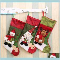 Decorazioni Forniture festive Giardino Santa Claus Sock Regalo Gift Bambini Candy Bag Xmas Noel Home Party Deposito Decollo Decorazione Albero di Natale Calze HA