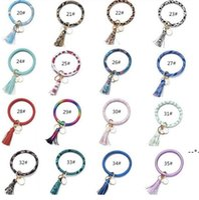 Tassels Keyring Bracelets Party Gifts Wristlet Keychain Bracelet Circle Key Ring Bangle Fashion Chain For Women Multi Colors NHD8670