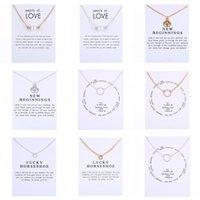 Nya halsband med presentkort cirkel pärlor hästsko kompass lotus blomma hängen guld silverk kedja för kvinnor mode smycken 77 t2