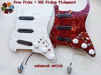 multifunction prewired الغيتار التقاطات pickguard sss الأسود المزدوج بيك اب دفع سحب وظيفة 20 لهجة تبديل pickguard