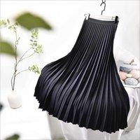 Qooth Elegant Solid Midi Pleated Skirt Women Korean High Waist Spring Ladies A-line School Long Female qh2313 210609