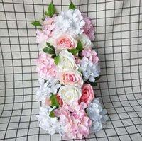 45x12 cm T-Strips Yol Kurşun Çiçek Backdrop Flore Panel Yapay Çiçekler Parti Düğün Çiçek Duvar Dekorasyon Için