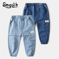 Smgslib 2021 Sonbahar Bahar Bebek Erkek Kot Pantolon Çocuk Giysileri Pamuk Rahat Çocuk Pantolon Denim Erkek Giysileri 2-6Year