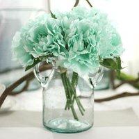 5 헤드 인공 꽃 수국 모란 신부 꽃다발 DIY 홈 파티 장식 녹색 잎 자연 생활의 실크 꽃