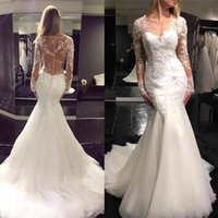 Long Sleeve Sheer Jewel Neck Lace Appliques Bridal Dresses Charming Tulle Mermaid Wedding Dresses Custom Made Wedding Gowns