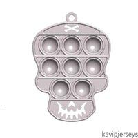 Estados Unidos Bubble Fidget Brinquedos Halloween Fantasma Partido Favor Silicone Chaveiro Chaveiro Crânio Pingente De Descompressão Puzzle Toy Desktop Finger Puzzl