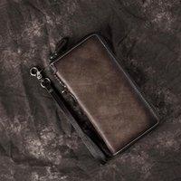 Support de carte de portefeuille longue rétro BestForm 2021 Nouveau Mens Portefeuille en cuir véritable Vintage Fermeture fermeture éclair