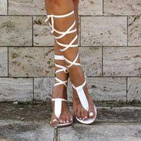 Sandals 2021 Woman Beach Sandalen Gladiator Women Flat Ladies Clip Toe Cross Strap Thong Shoes Dames Sandalias Mujer