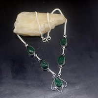 Pendant Necklaces Hermosa Jewelry Glowing Teardrop GreenTopaz Silver Color Women Ladies Gifts Necklace Chain 46cm 20213426