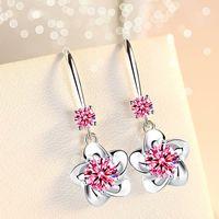 925 Sterling Silber Neue Frauen Modeschmuck Rosa Blau Weiß Kristall Zirkon Lange Quaste Blume Haken Typ Ohrringe 792 Z2