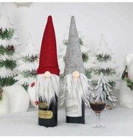 جديد سانتا كلوز الديكور الكرتون مجهولي الهوية دمية النبيذ الشمبانيا الزجاج زجاجة مجموعة حقيبة هدية بالجملة