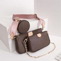 진짜 가죽 패션 핸드백 어깨 가방 멀티 포 셰트 accessoires 지갑 여성 좋아하는 미니 3pcs 액세서리 크로스 바디 가방