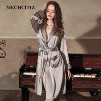 Mechcitiz sexy seda seda cetim sleepwear bridebridemaid vestido vestido de roupão sólido kimono roupão mulheres casual casual noite vestido 210831