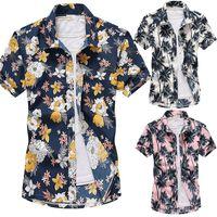 Casual Erkekler Plaj Gömlek Yaz Kısa Kollu Turn-down Yaka Çiçek Bohemia Baskılı Artı Boyutu Bluz Erkek Düğmeleri Tops
