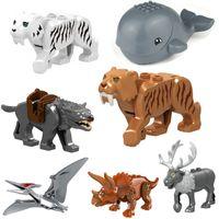 JM025-038 Animal Minifigs Строительные блоки кирпича китов динозавров T-REX ELK TIGER WOLF MINI фигура игрушка для детей