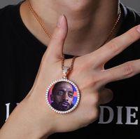 Men Women Custom 50mm 62mm 92mm Small Medium Big Size Round Photo Medallions Pendant Necklace Gifts Zircon Hiphop Jewelry