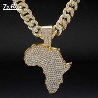 Grande collana pendente della mappa africana punk rock hip hop oro colore cubano catena collana per uomo moda maschile gioielli colar masculino
