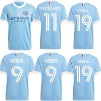 Nuevo 2021 MLS New York City FC Soccer Jersey 9 Heber 10 Moralez Mitrita Callens Matarrita Custom Nycfc Blue Menfootball Shirts