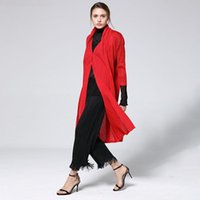 Women's Trench Coats LANMREM 2021 Fashion Pattern Pleated Slim Thin Long Temperament V Collar Loose Solid Color Vintage Style Coat AD054
