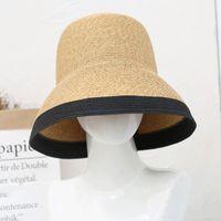 2021 nouveau chapeau de pêche solaire Summer Summer Femme Mode Chapeau de bord de la mer Beashade Beach Sun Protection paille Chapeau de paille