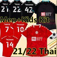 21/22 Bristol City Futbol Formaları FC Paterson Wells Semenyo Martin Weimann Futbol Gömlek Meyzet Kalas Massengo Uzakta Siyah Erkekler + Çocuk Kitleri Çorap Tam SetUniforms