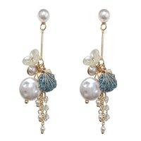 Artificial Pearl Fashion 925 Silver Needle Tassels Shell Blue Alloy Long Style Earring Women Eardrop Floral Ear Pendants
