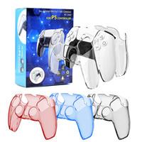 ل PS5 PlayStation Crystal واقية حالة 4 لون تحكم قبضة غطاء مع مربع التجزئة الشحن السريع