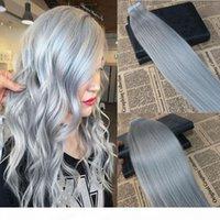 Klebeband in menschlichen Haarverlängerungen Splitter Farbe Haut Schussband in Erweiterungen Grau PU Straight Tape auf Haarverlängerungen 100g 40 stücke