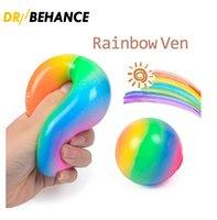 DECOMPRESSIONE giocattolo Squish Squeeze Gomma Stress Ball Ansia Stress Sollier Autism Fidget Gelatina Squishy Rainbow Vent Ball Sheeezy per bambino adulto