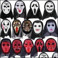 Festive Supplies Home & Garden14 Styles Skeleton Horror Halloween Crack Skl Mask Scream Masquerade Adt Fl Face Retro Party Masks Owd8935 Dro