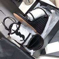 Женщины Кассандры Сандалии Клин Espadrilles Черная Белая Кожа 10,5 см Высокие каблуки Регулируемая пряжка Свадебные Обувь No324